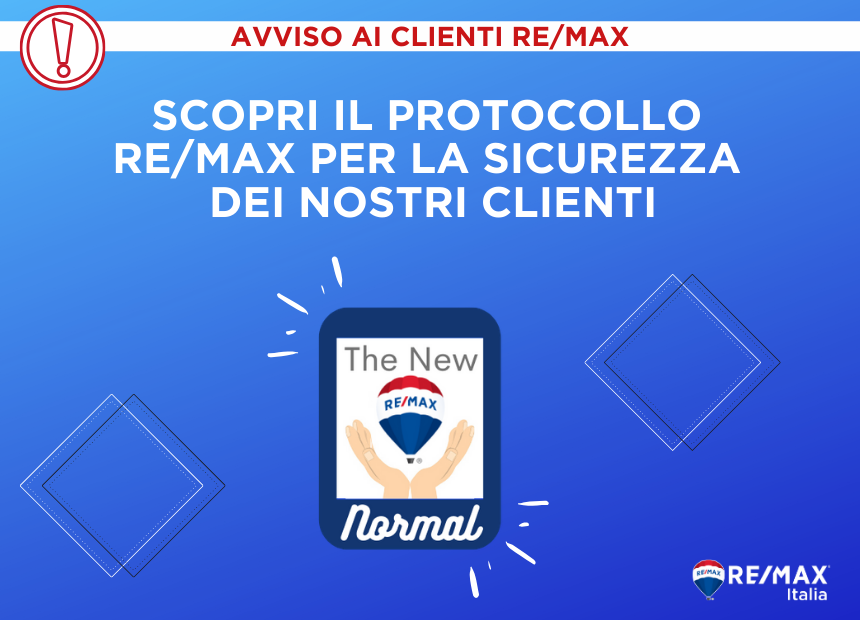 <p>All RE/MAX Italia agencies have implemented a set of rules and daily procedures in compliance with current law requirements regarding &ldquo;Step 2&rdquo; of the Covid-19 emergency. The primary aim of these measures is to ensure that all parties involved in our business are safe while providing excellent client satisfaction. Our clients can benefit from the international reach of our brand, which is the largest in the worldwide real estate market.<br /> &nbsp;</p>